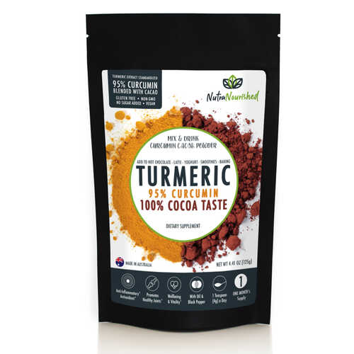 95% Curcumin Turmeric Extract Powder - Cacao Flavour - 125gm (1,000mg/serve)